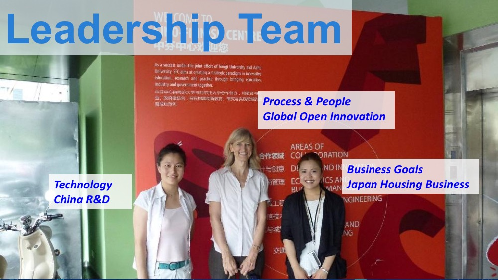 Leadership team: myself with co-leaders from business in Japan and technology in China